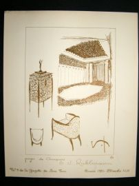 Gazette du Bon Ton 1920 Art Deco Interior Design Litho. #43